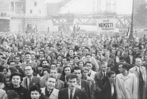 Medical students among the protesters during the Revolution of 1956