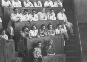 Lecture at the 1st Department of Obstetrics and Gynaecology, 1950s