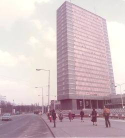 The University's NET building, shortly after its construction in 1976