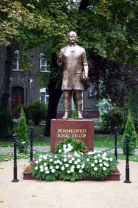 The bronze statue of Ignác Semmelweis at the university (László Szilasi, 2004)