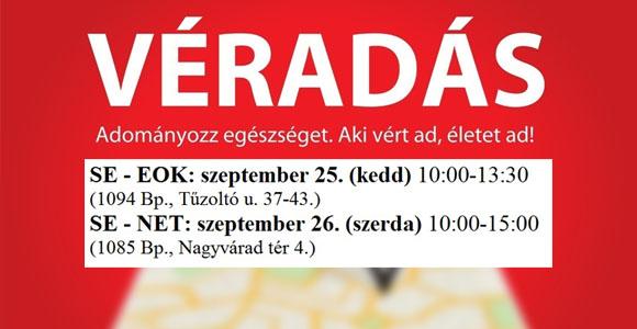 Véradás szeptember 25-én az EOK-ban