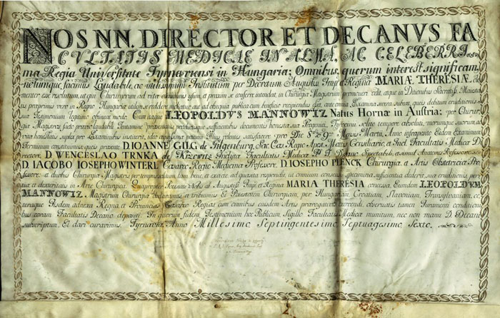 Sebészmesteri oklevél, 1776